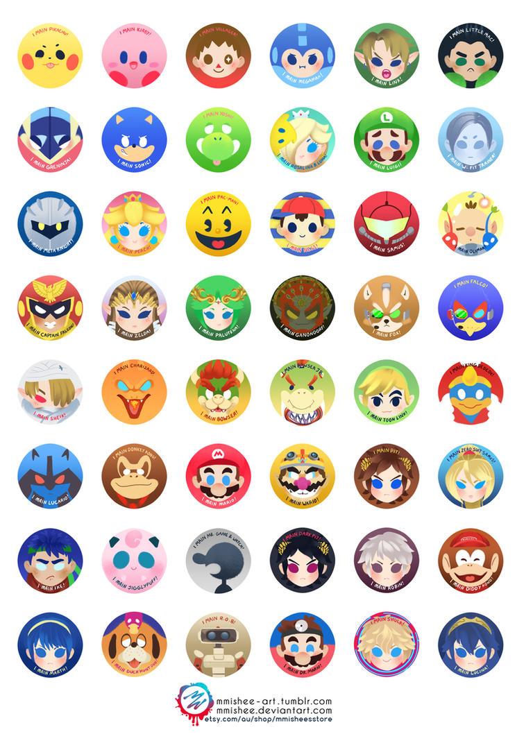 Super Smash Bros Buttons By Mmishee On Deviantart
