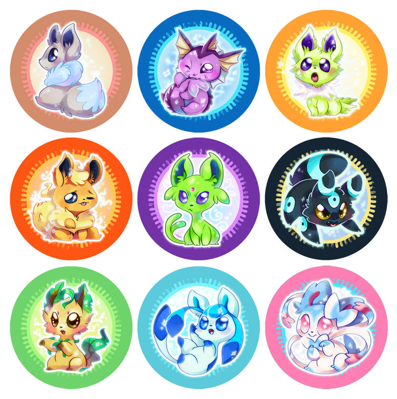 Shiny Eeveelution buttons by mmishee