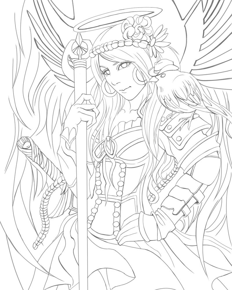warrior angel coloring pages - photo#3