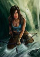 Lara Croft by the waterfall