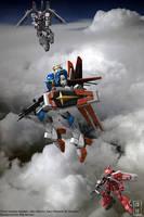 Force Impulse Gundam and Zakus by sandrum