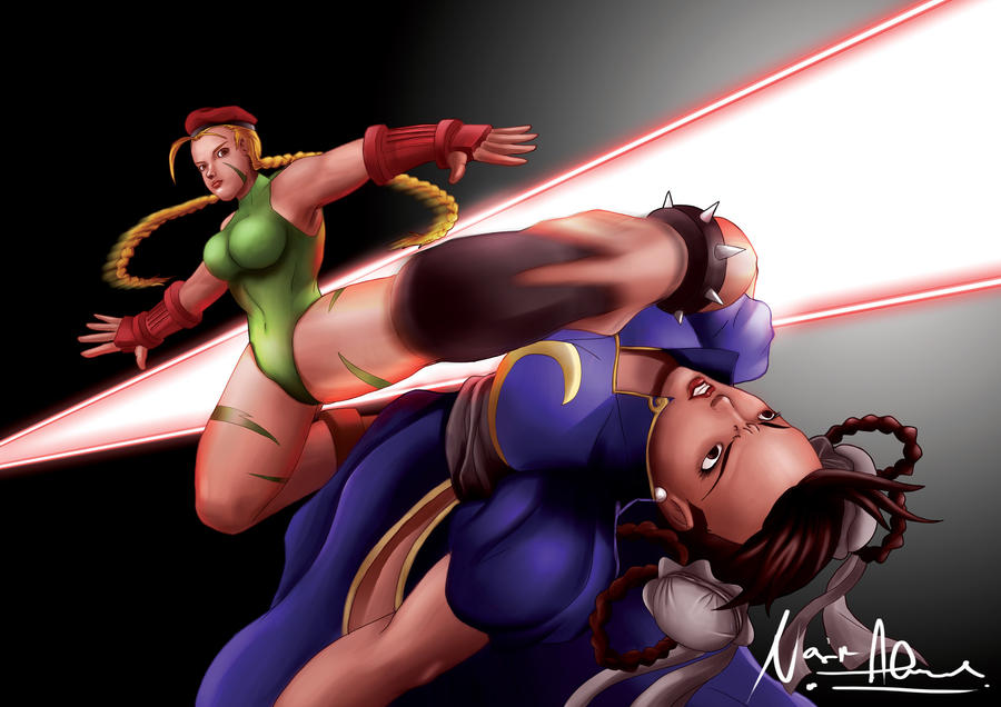 cammy vs chun li by dotlineshape