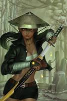 Samurai Girl by dotlineshape