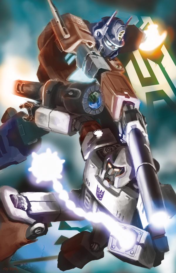 Optimus Prime vs. Megatron by Doomsplosion