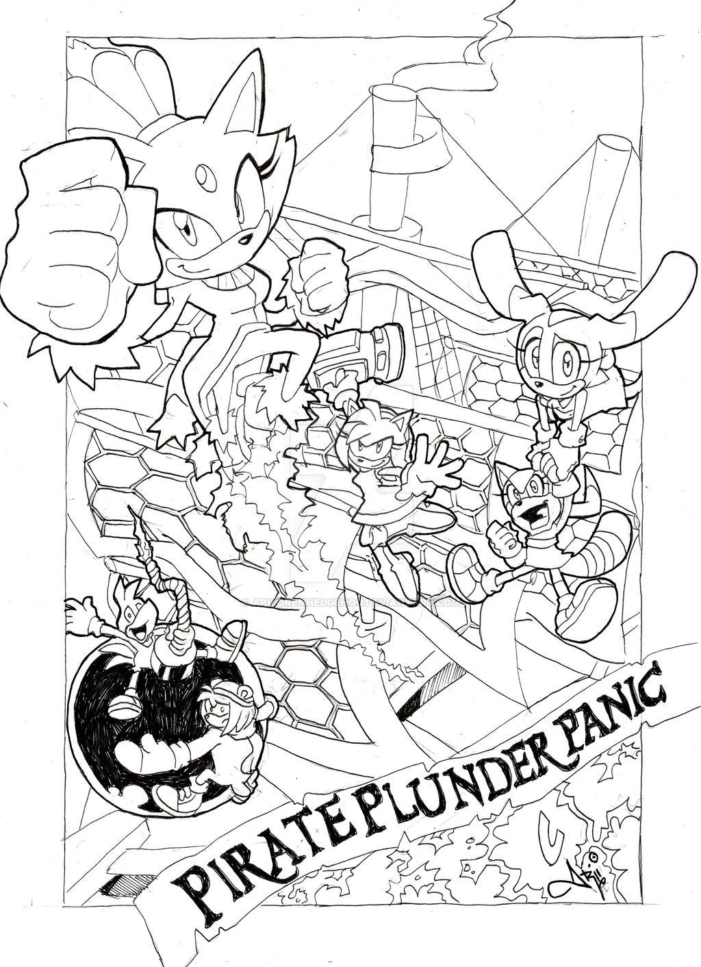 Pirate Plunder Panic (Lineart sketch version) by AriLorenHedgehog
