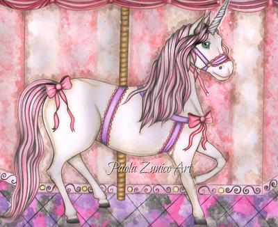 Watercolor Carrousel by PaolaZunico