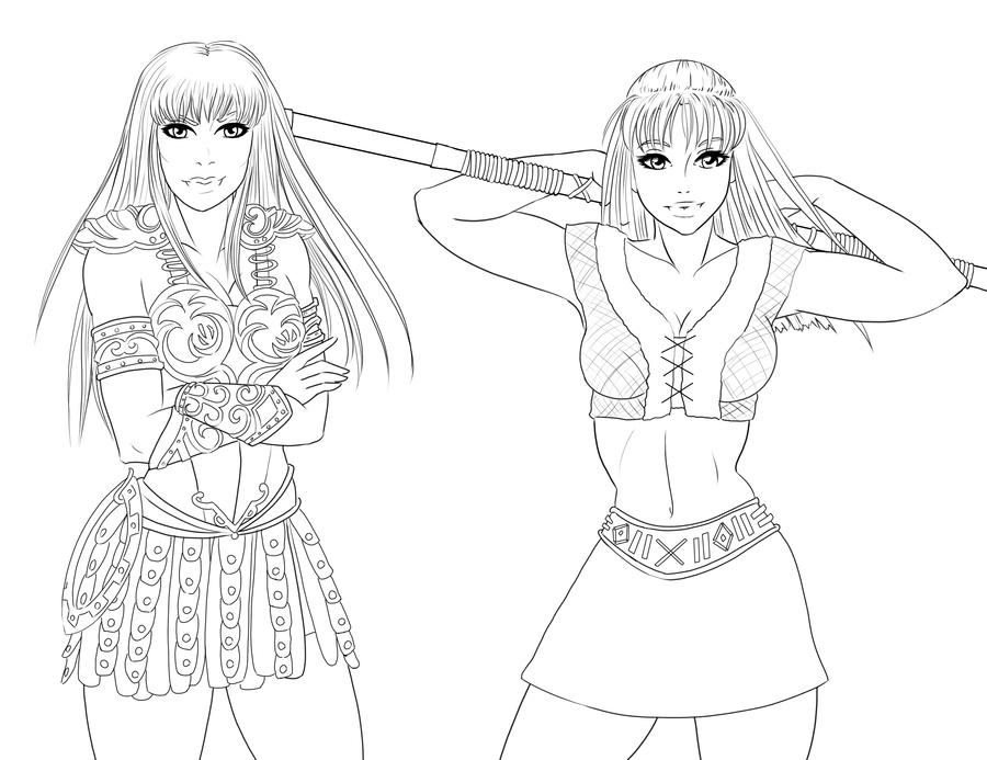 Xena and gabrielle by schappell on deviantart Xena coloring book