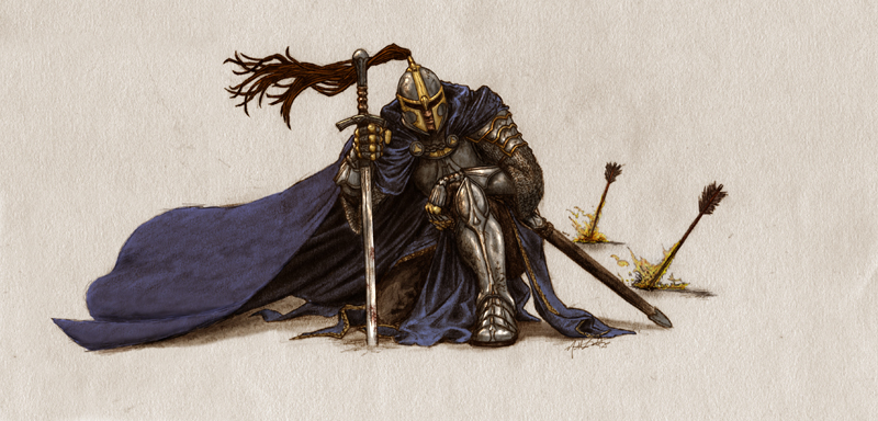 Kneeling Knight Drawing Kneeling Knight Colored by