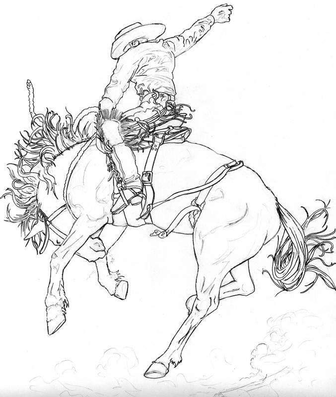 bronc rider coloring pages - photo#5