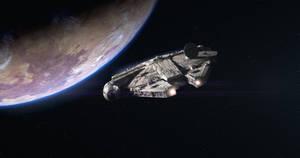 The Falcon leaving Tatooine