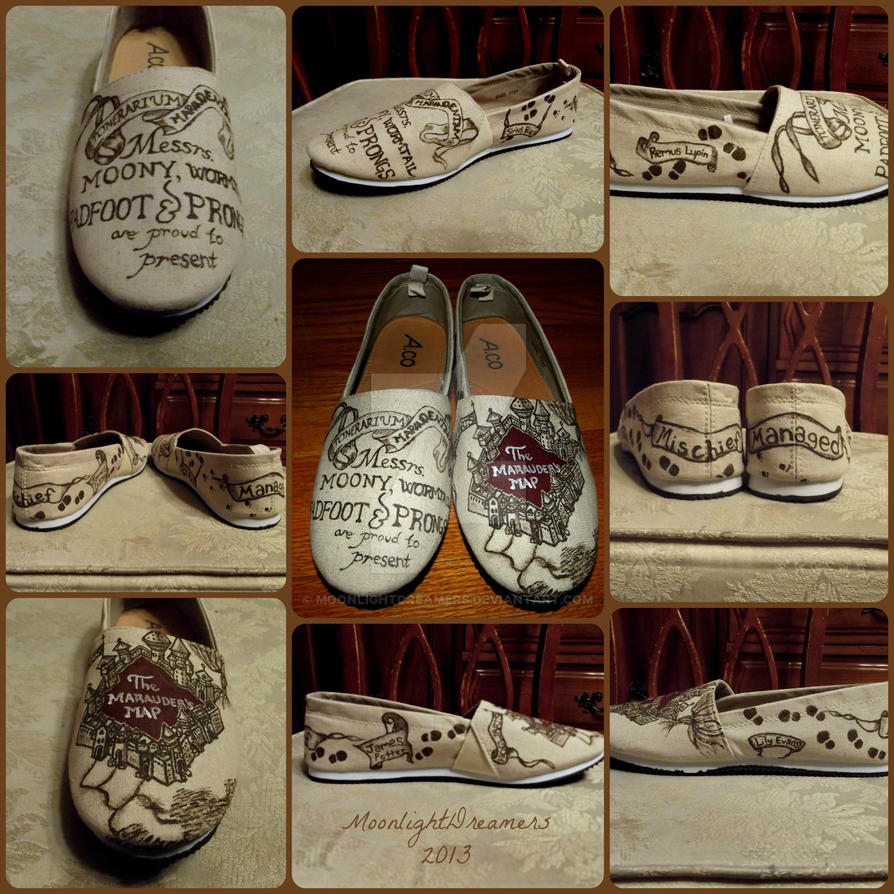 marauders map shoes finished by moonlightdreamers on deviantart
