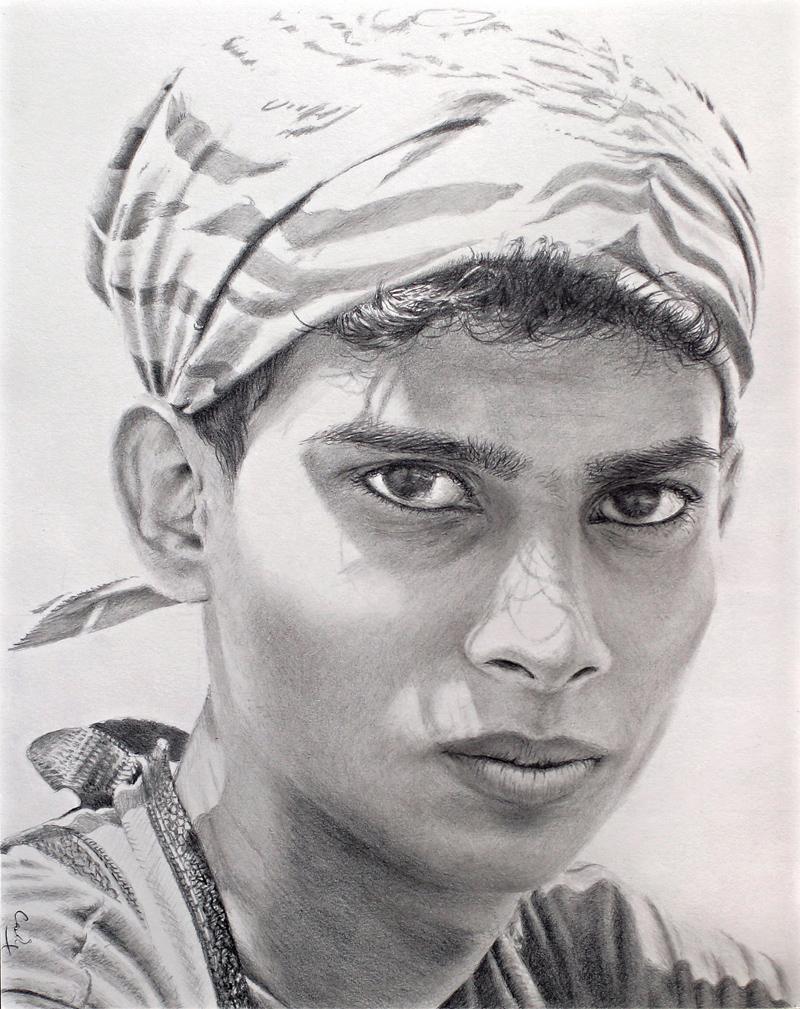 Pencil drawing: *Bandana Boy* by Denish-C