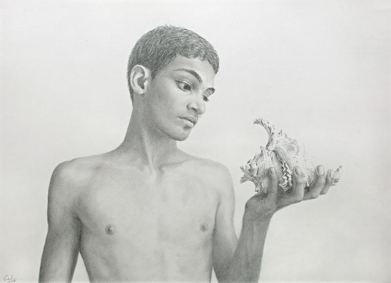 Young Man Looking at a Seashell, pencil drawing by Denish-C
