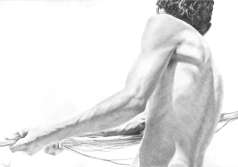 Pencil drawing: *Hauling in the Net* by Denish-C
