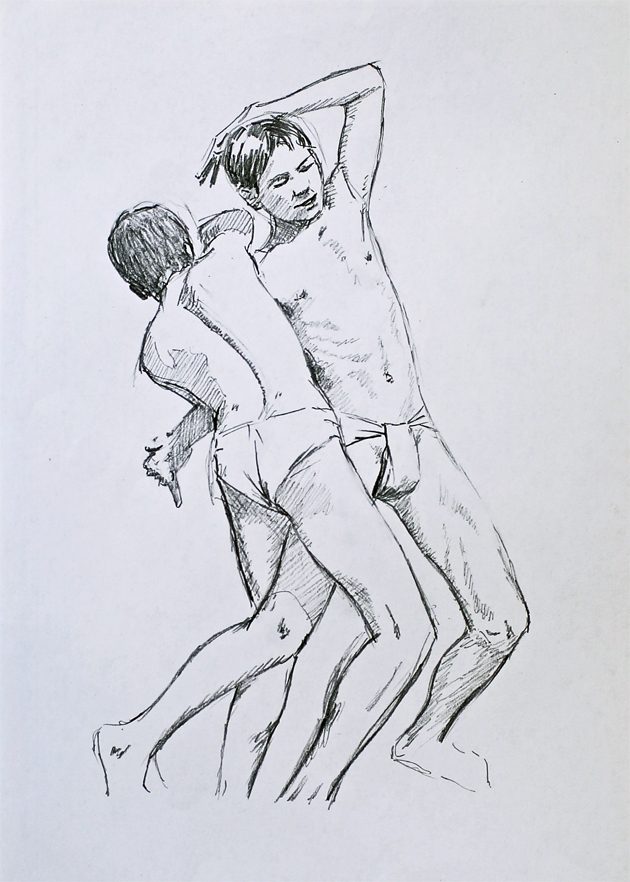 Quick drawing - Indian Wrestlers. by Denish-C