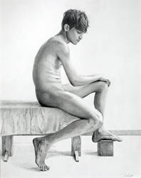 Drawing: *Seated Male Nude* by Denish-C