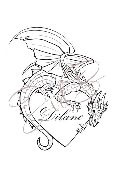 Line Drawing Tattoo Artists : Dragon tattoo line art by xmerrow on deviantart
