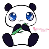 Baby panda loves food by cotton-candy-dreamer