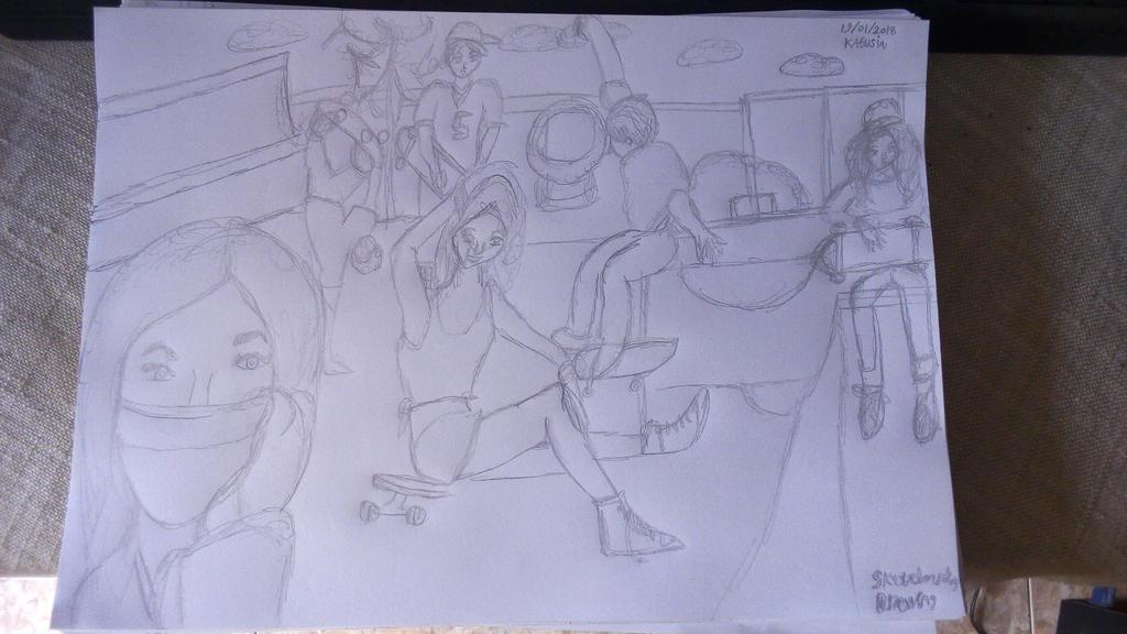 Skateboarding Drawing by Leko2