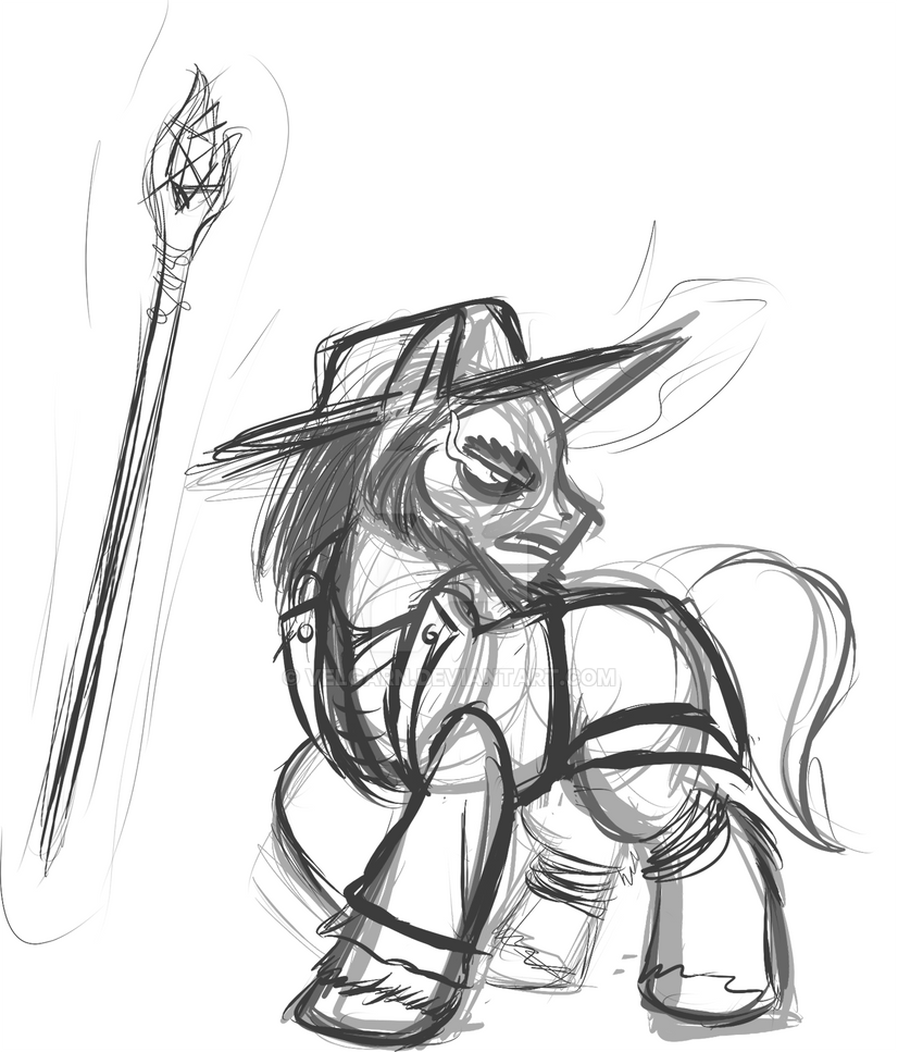 SoH Pony Edition - The Sorceror (Rough Sketch) by Velgarn