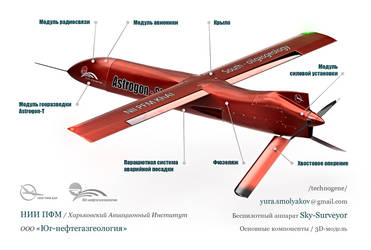 3D technical diagram of UAV