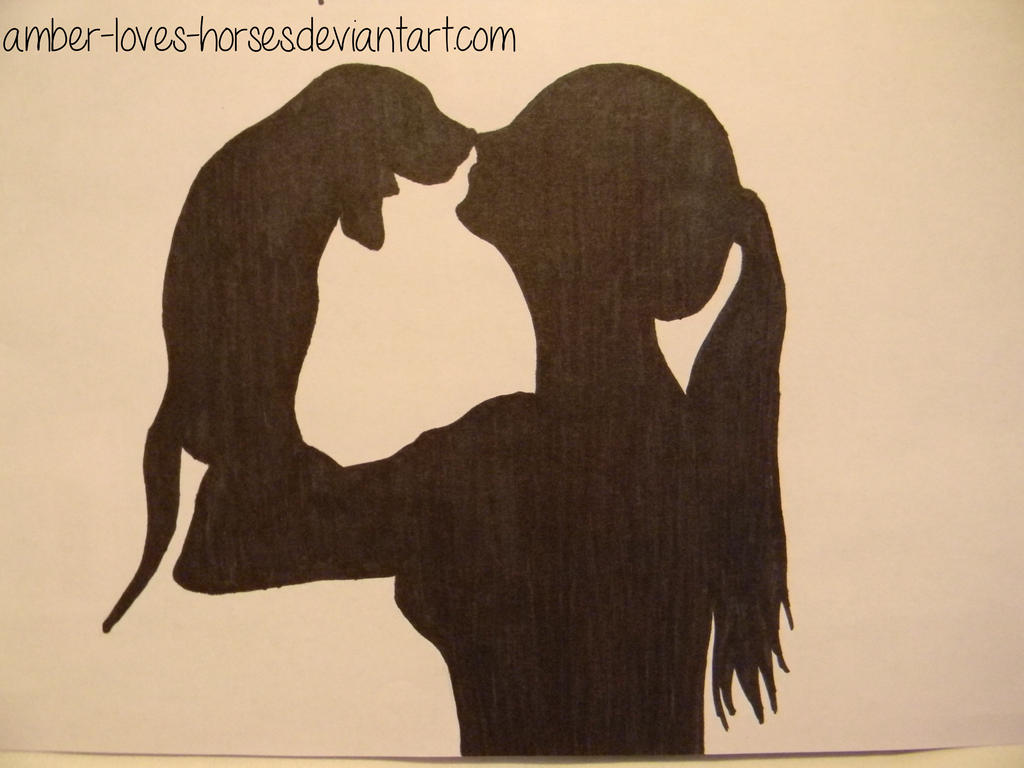 girl and dog silhouetteamber-loves-horses on deviantart