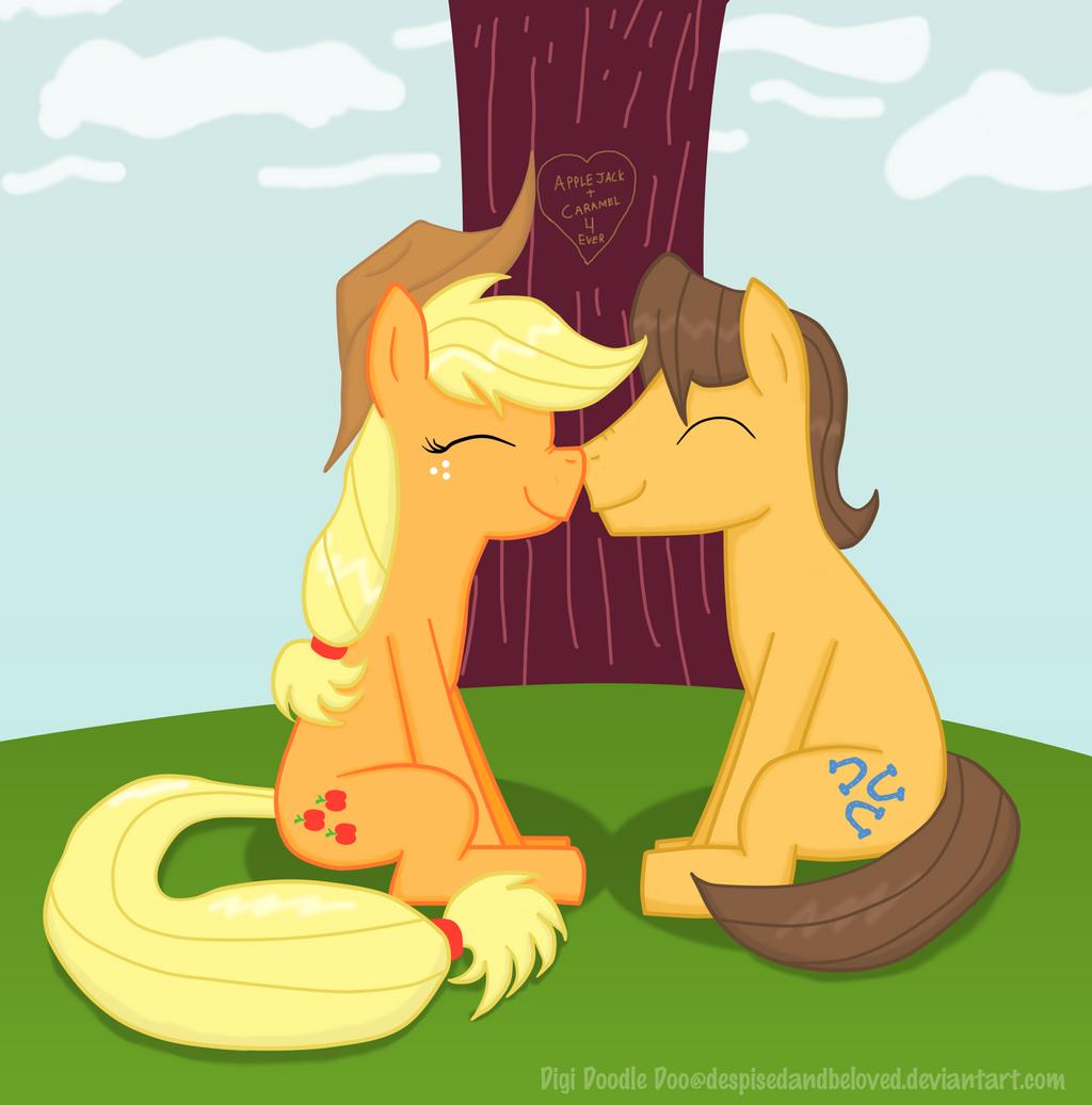 Caramel and Applejack sitting under a tree... by DespisedAndBeloved