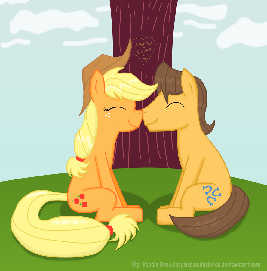 Caramel and Applejack sitting under a tree... by DespisedAndBeloved