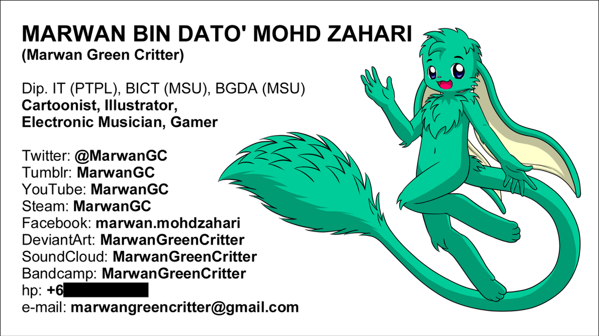 My business card by MarwanGreenCritter