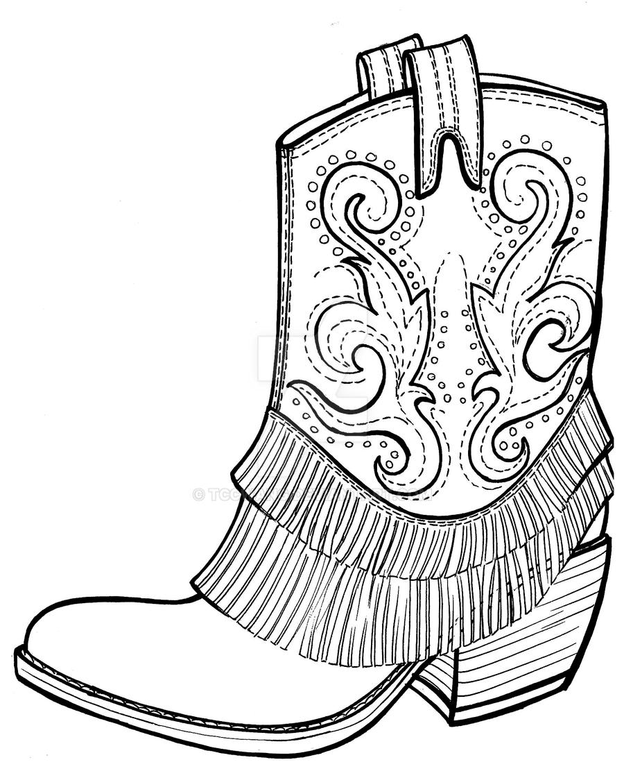 Coloring pictures of cowboy boots - Cowboy Boots By Tccwang Cowboy Boots By Tccwang