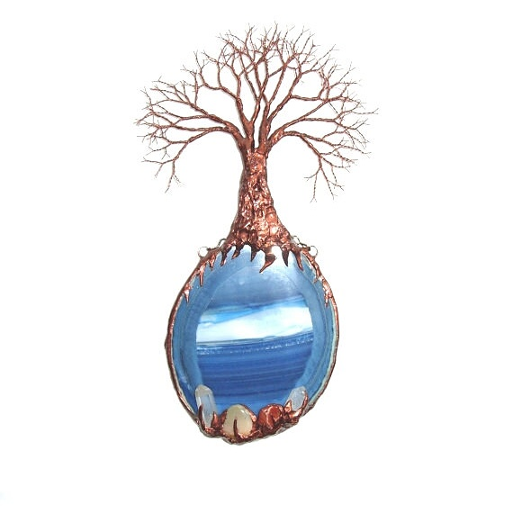 sc 1 st  WhisperingWillowArt - DeviantArt & Copper Wire Tree Of Life Blue Agate Wall Art by WhisperingWillowArt ...