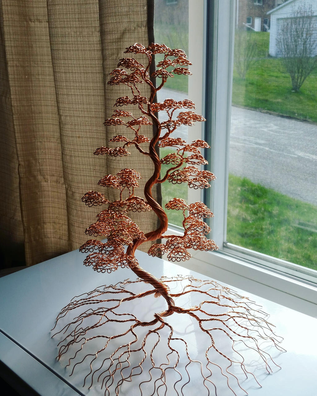 Large Copper Wire Bonsai Tree Art Sculpture By Whisperingwillowart On Deviantart