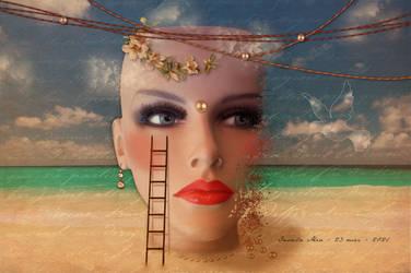 Surreal head on the beach