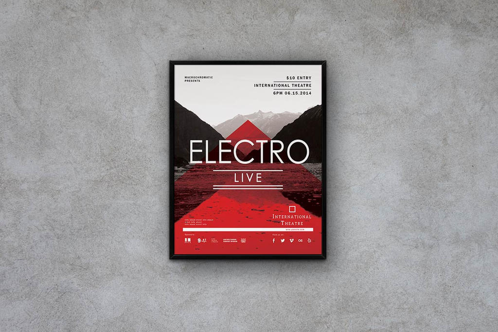 Electro Music - Flyer Template by macrochromatic