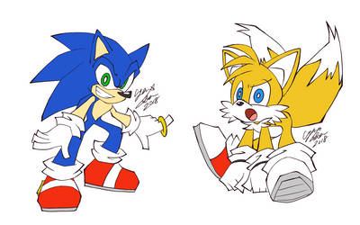 Sonic and Tails (Panty and Stocking taste) by CYAN-STAR03