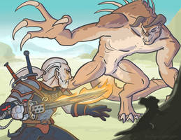 Geralt VS Deathclaw by InAmberClad