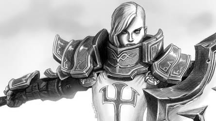 Johanna from Diablo 3 in Crosshatching