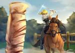 [Art Trade] Horseback Practice by MrElementron-dA