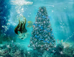 Mermaids Christmas by KarinClaessonArt