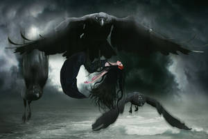 Death of the Raven Warrior by KarinClaessonArt