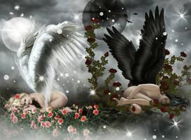 Light vs Dark Angel by KarinClaessonArt