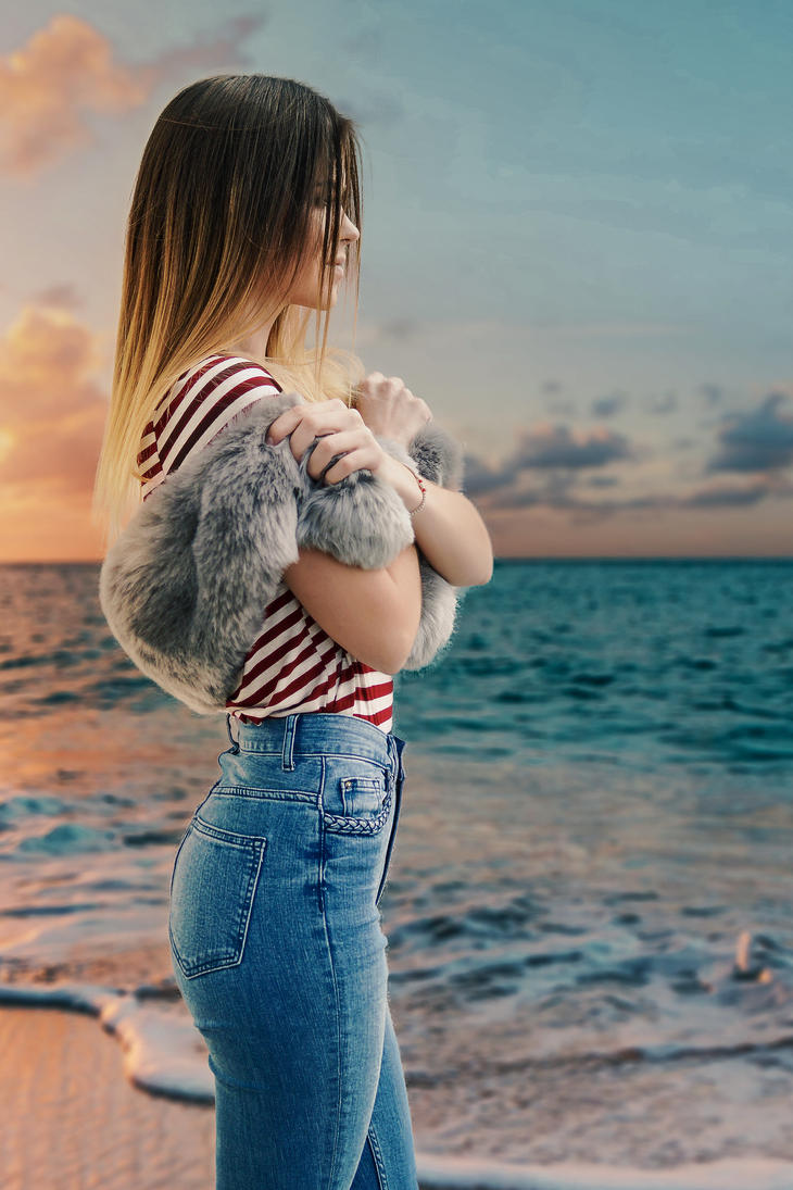 Sunset Girl Composite by Edgeley