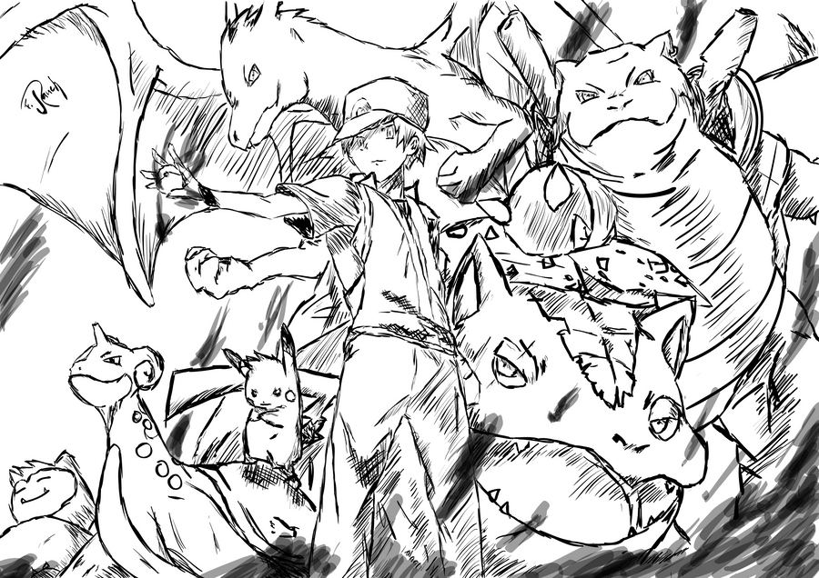 Pokemon 'firered' ... Red by l3lackMonkey