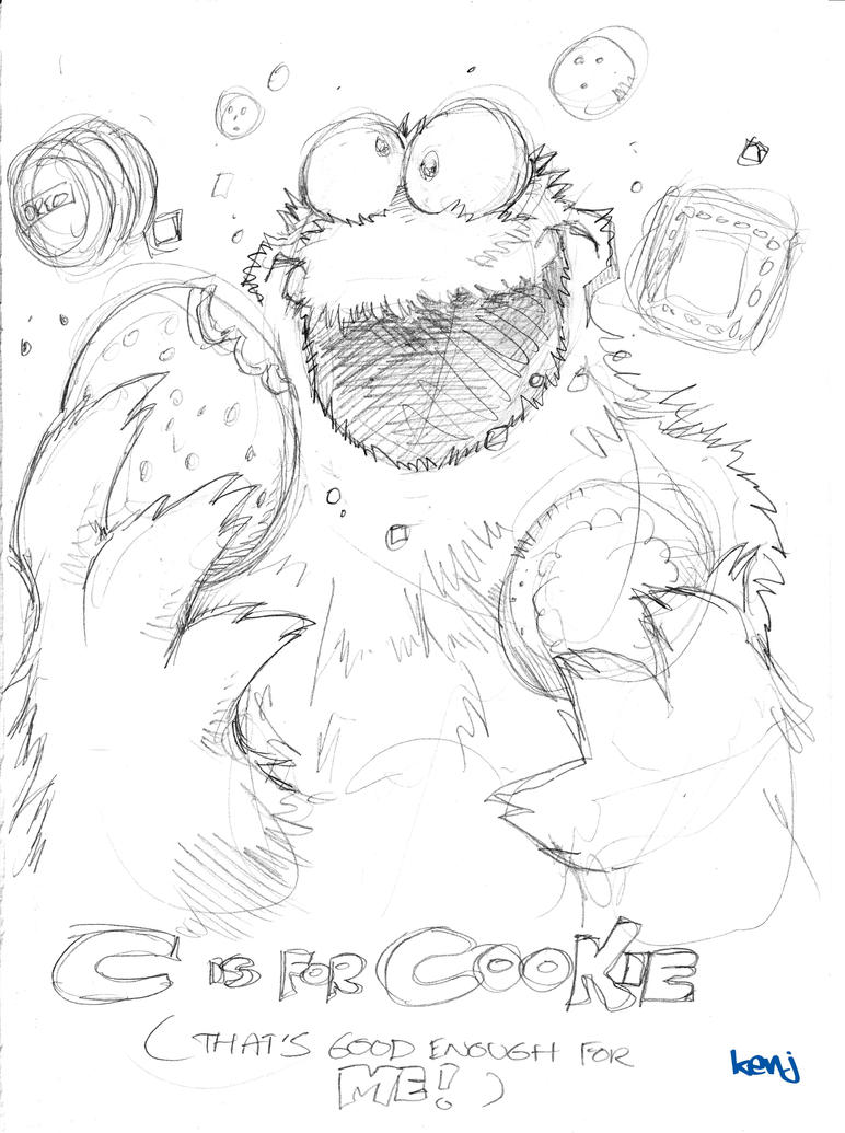 Cookie Monster Drawing Cookie monster sketch byCookie Monster Pencil Drawing