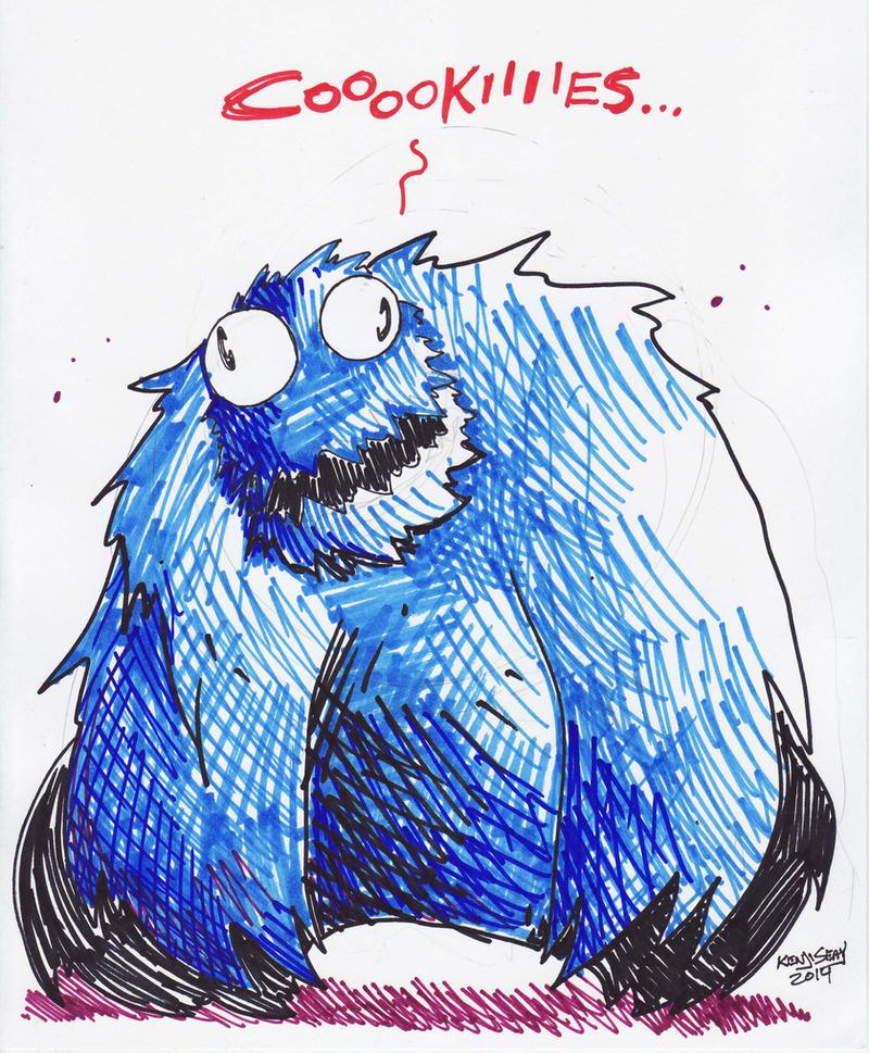 Inktober 5: Cookie Monster. by Kenji-Seay