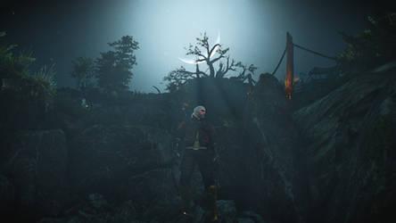 The Witcher 3 Geralt Under The Moon Wallpaper by Crishark
