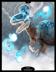 The Dinosaur Tarot - 09 - The Hermit by Droemar