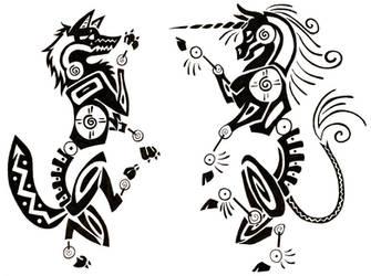 Unicorn Wolf Tattoo by Droemar
