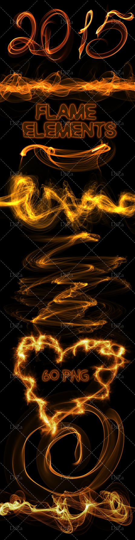 Flame elements on a transparent background by DiZa-74