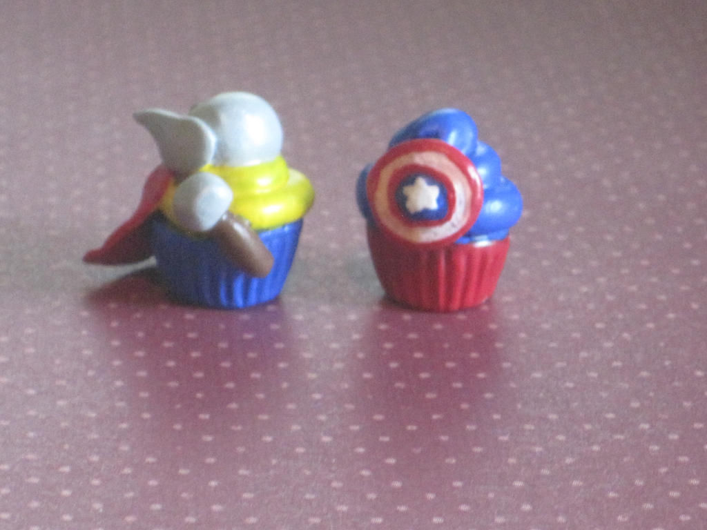 Thor and Captain America Cupcake Charm by ichigoluv